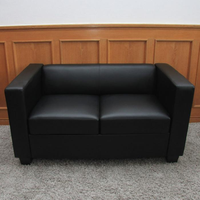 2er sofa couch loungesofa lille leder schwarz. Black Bedroom Furniture Sets. Home Design Ideas
