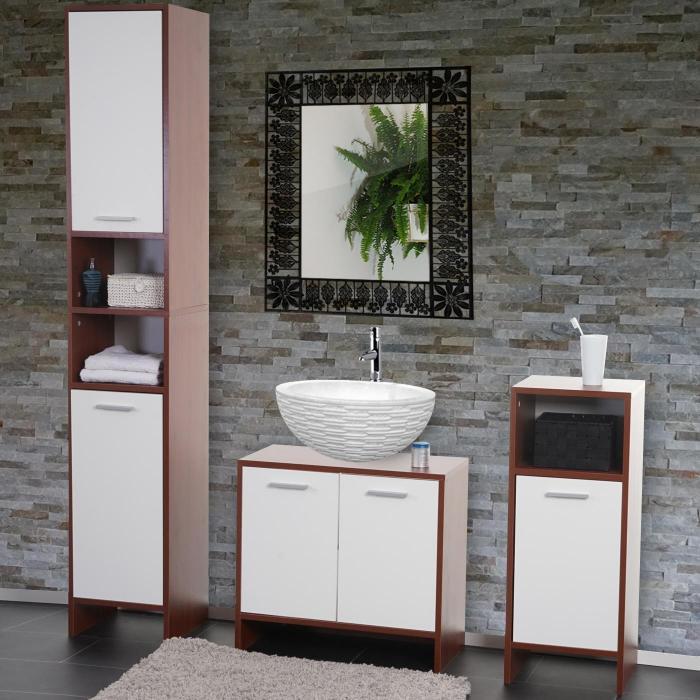 Schon Badezimmer Set Arezzo, Waschbeckenunterschrank Hochschrank Kommode ~ Braun,  Türen Weiß
