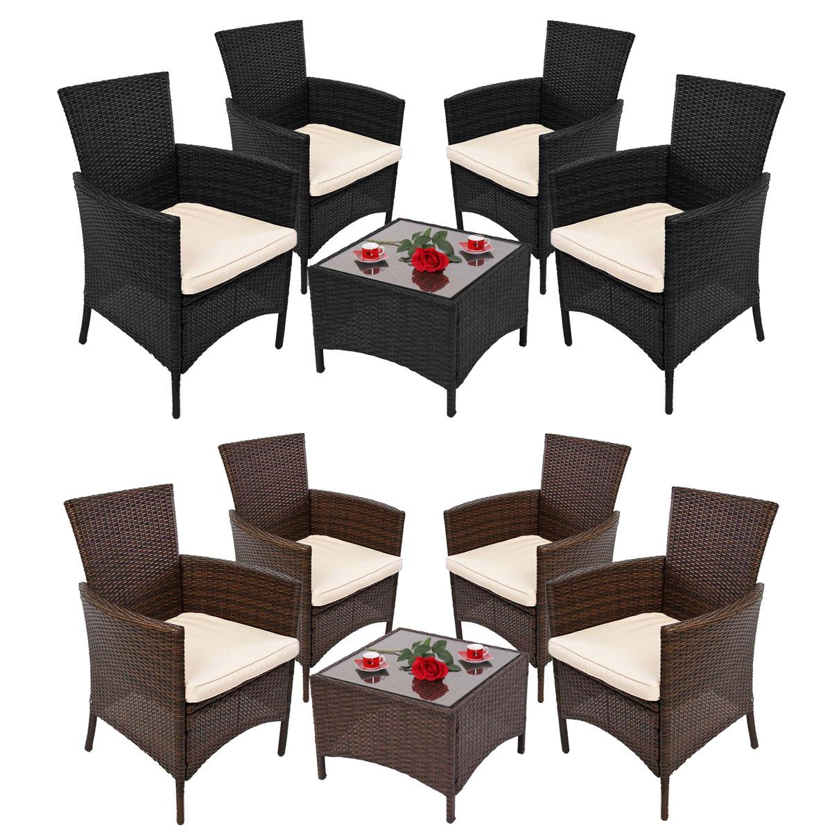Garten-Garnitur RomV, Poly-Rattan, Tisch eckig + 4x Sessel ~ Variantenangebot