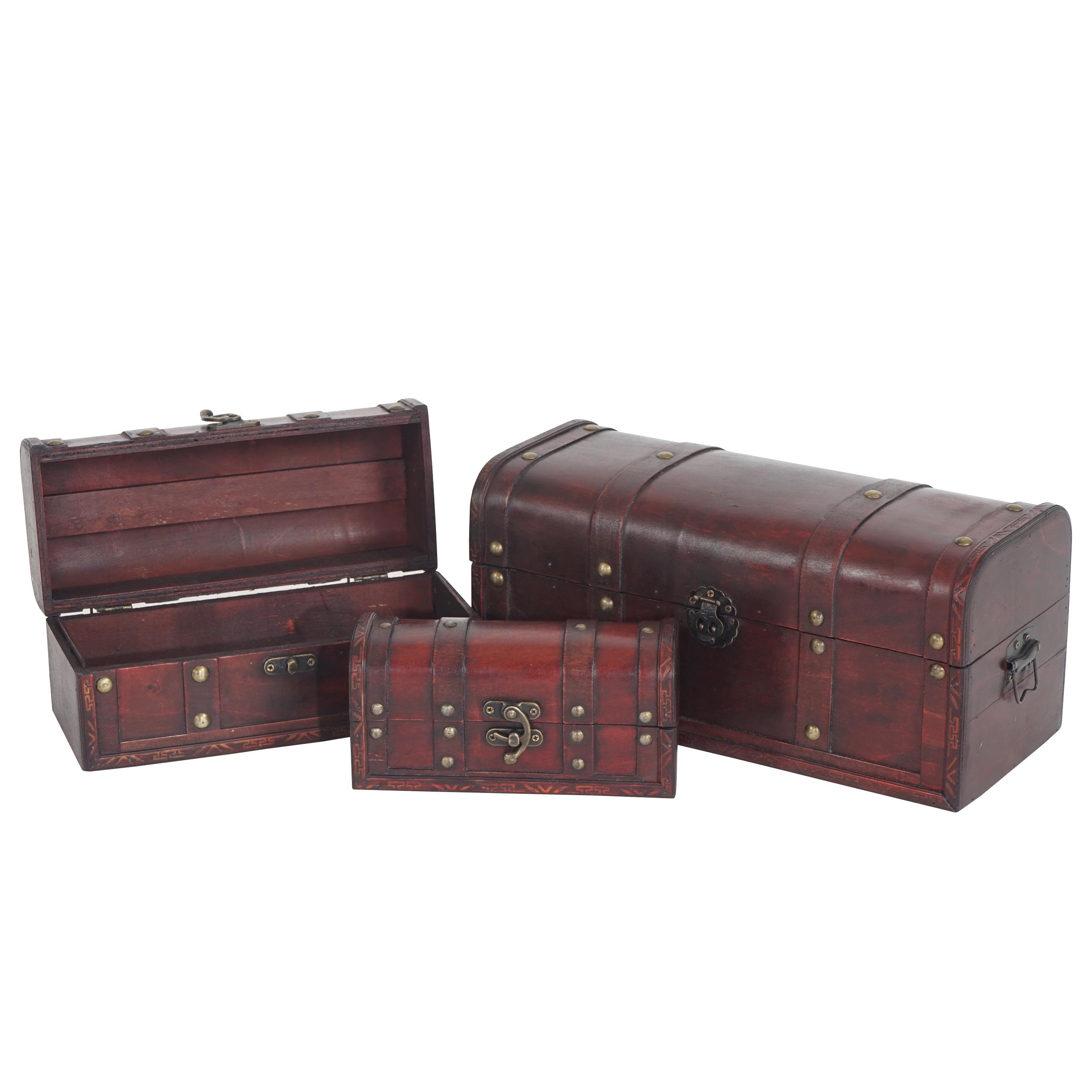 Mendler 3er Set Holztruhe Geschenkbox Holzbox Schatztruhe Valence Antikoptik 10x21x10 bis 17x38x18cm ~ Varia 34229+34230+34231