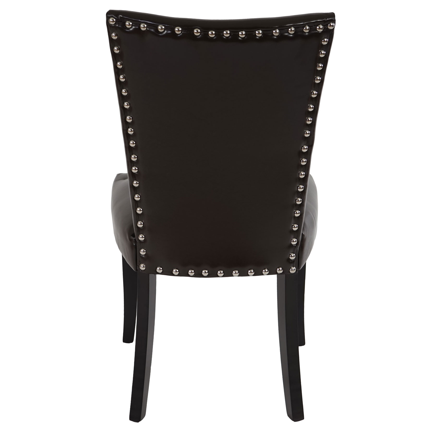 2x esszimmerstuhl chesterfield stuhl lehnstuhl nieten kunstleder braun dunkle beine. Black Bedroom Furniture Sets. Home Design Ideas