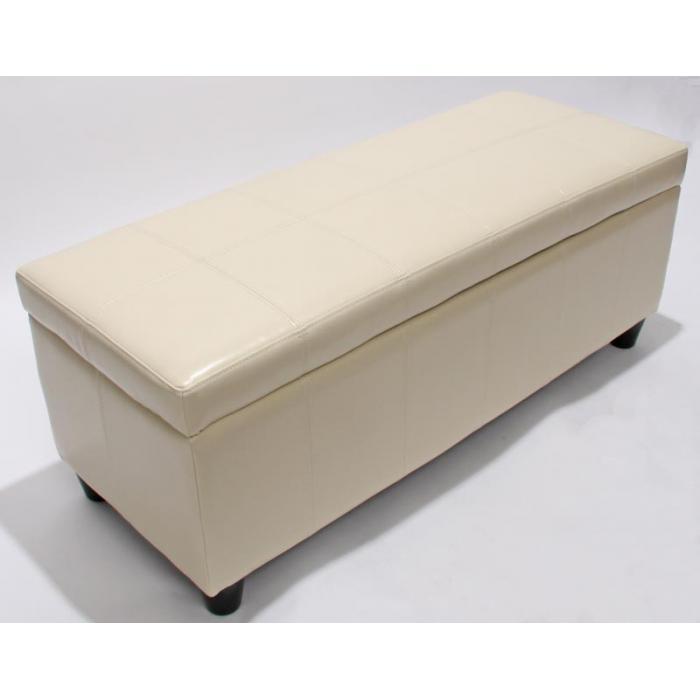 bank sitzbank mit aufbewahrung kriens leder kunstleder 112x45x45cm creme. Black Bedroom Furniture Sets. Home Design Ideas