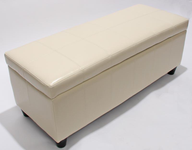 Bank Sitzbank MIT Aufbewahrung Kriens Leder + Kunstleder 112x45x45cm ~ Creme