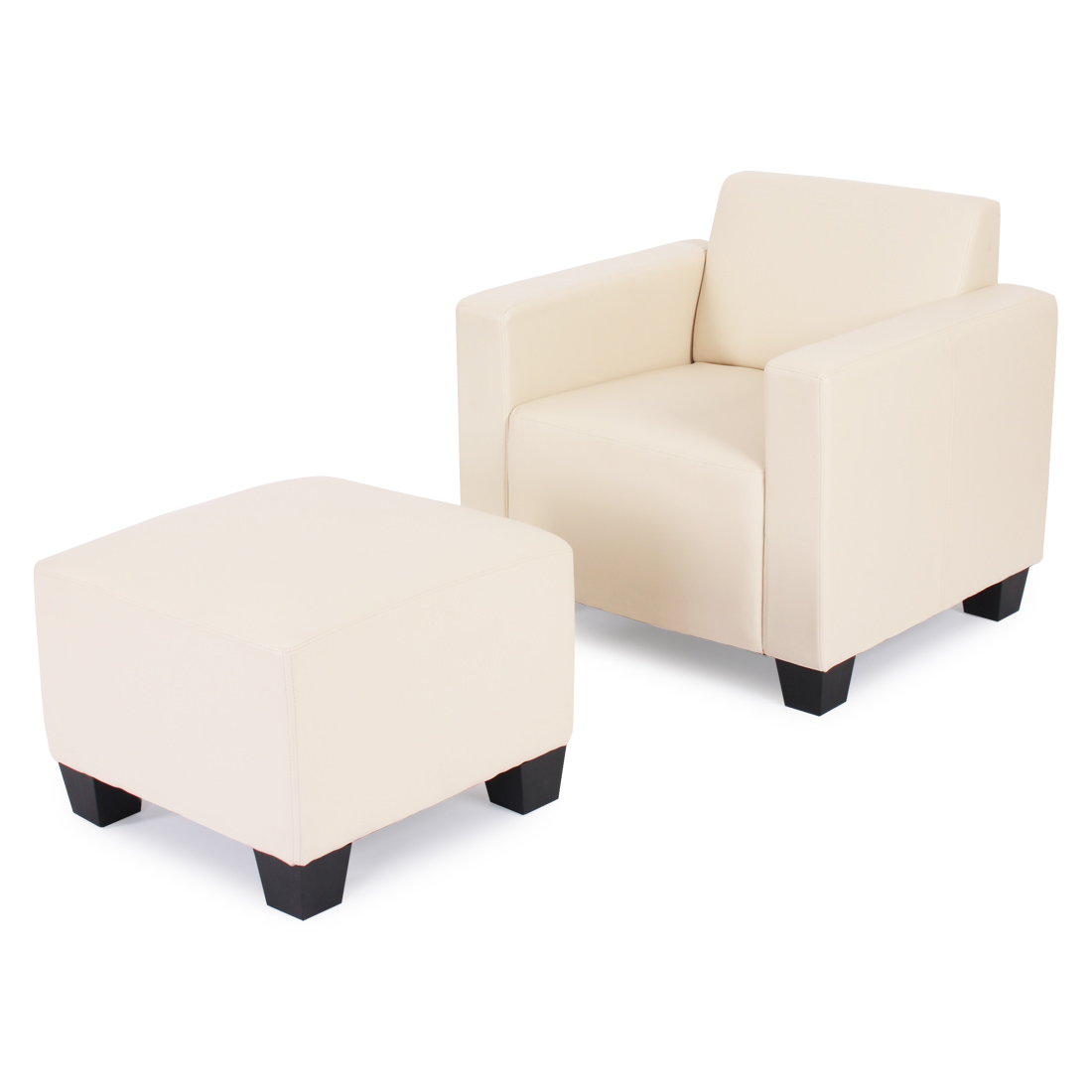 modular sessel loungesessel mit ottomane lyon kunstleder creme. Black Bedroom Furniture Sets. Home Design Ideas