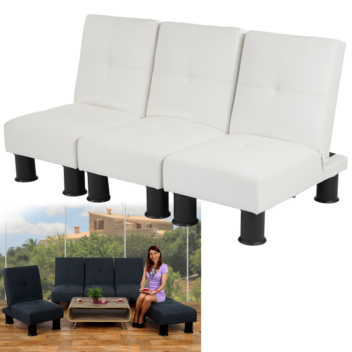 3x sessel relaxliege sofa schlafcouch g stebett melbourne ii kunstleder textil ebay. Black Bedroom Furniture Sets. Home Design Ideas