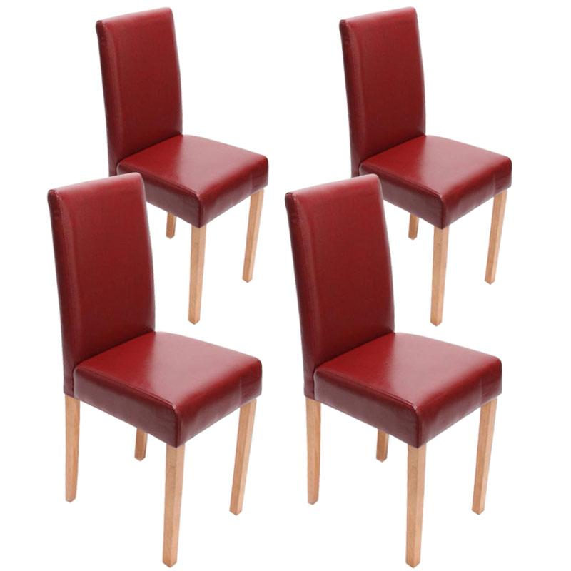 4x esszimmerstuhl stuhl lehnstuhl littau leder rot for Esszimmerstuhl rot