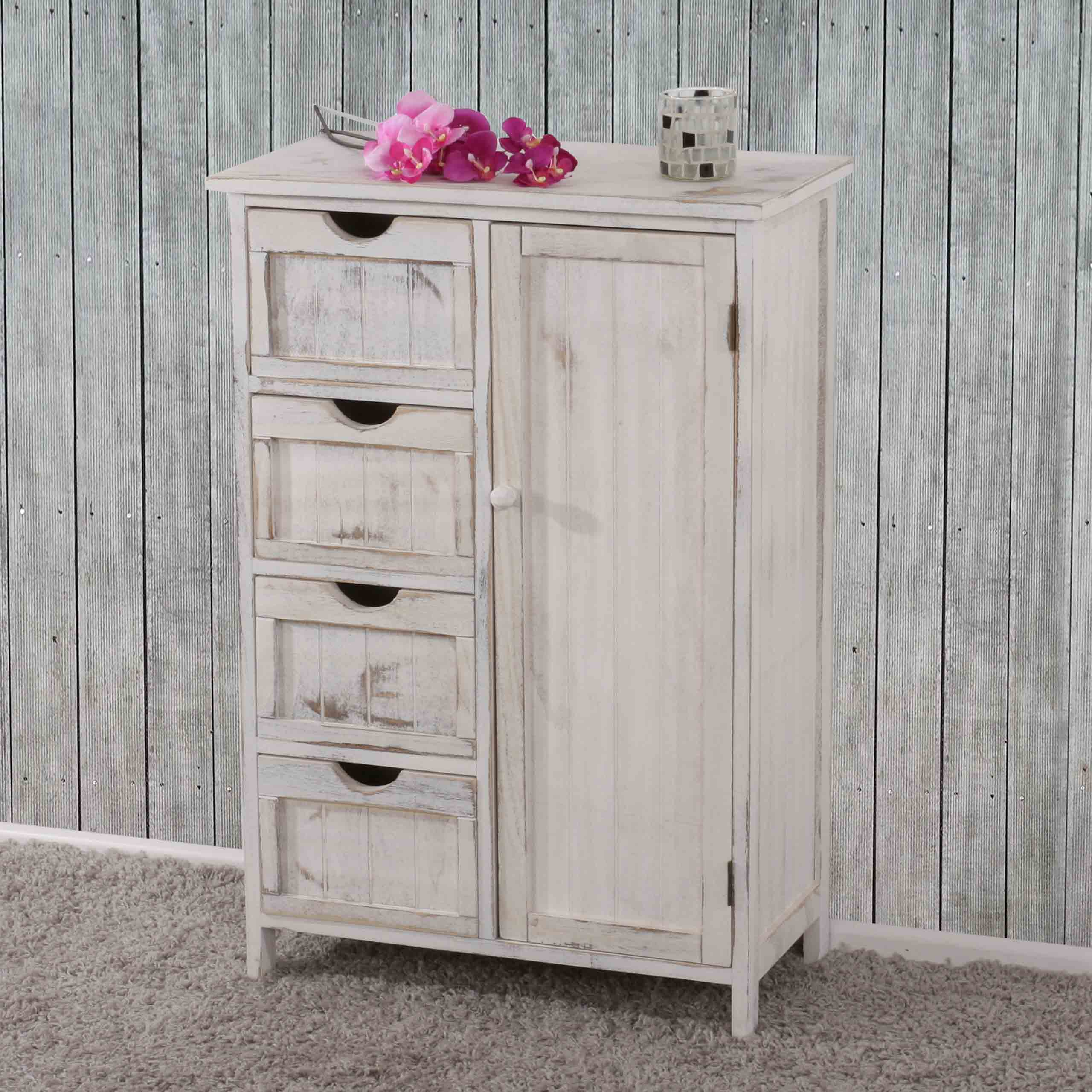 kommode schrank 82x55x30cm shabby look vintage wei. Black Bedroom Furniture Sets. Home Design Ideas