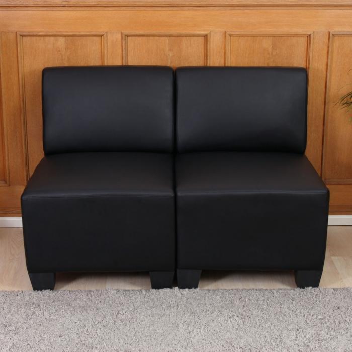 2-sitzer sofa couch lyon, kunstleder ~ schwarz, ohne armlehnen, Hause deko