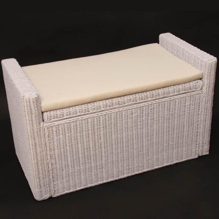 Sitzbank sitzhocker m92 rattan mit stauraum und kissen for Panchina cassapanca