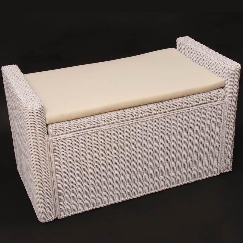 aufbewahrungstruhe truhe sitzbank m92 rattan mit kissen 88cm wei. Black Bedroom Furniture Sets. Home Design Ideas