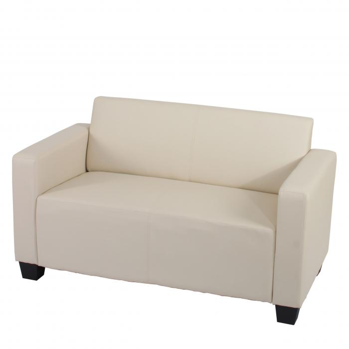 2er Sofa Couch Lyon Loungesofa Kunstleder Creme