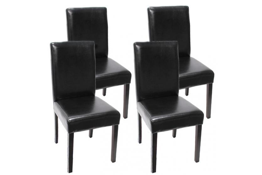 4x esszimmerstuhl stuhl lehnstuhl littau leder schwarz for Lehnstuhl esszimmer