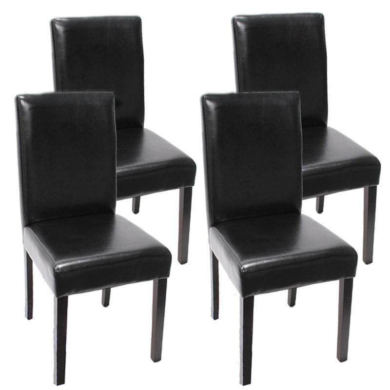 4x esszimmerstuhl stuhl lehnstuhl littau leder schwarz dunkle beine. Black Bedroom Furniture Sets. Home Design Ideas