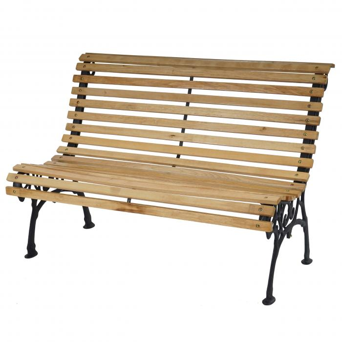 gartenbank antibes parkbank holzbank gusseisen 122cm natur. Black Bedroom Furniture Sets. Home Design Ideas
