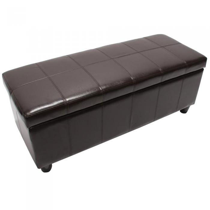 aufbewahrungs truhe sitzbank kriens leder kunstleder 112x45x45cm braun. Black Bedroom Furniture Sets. Home Design Ideas