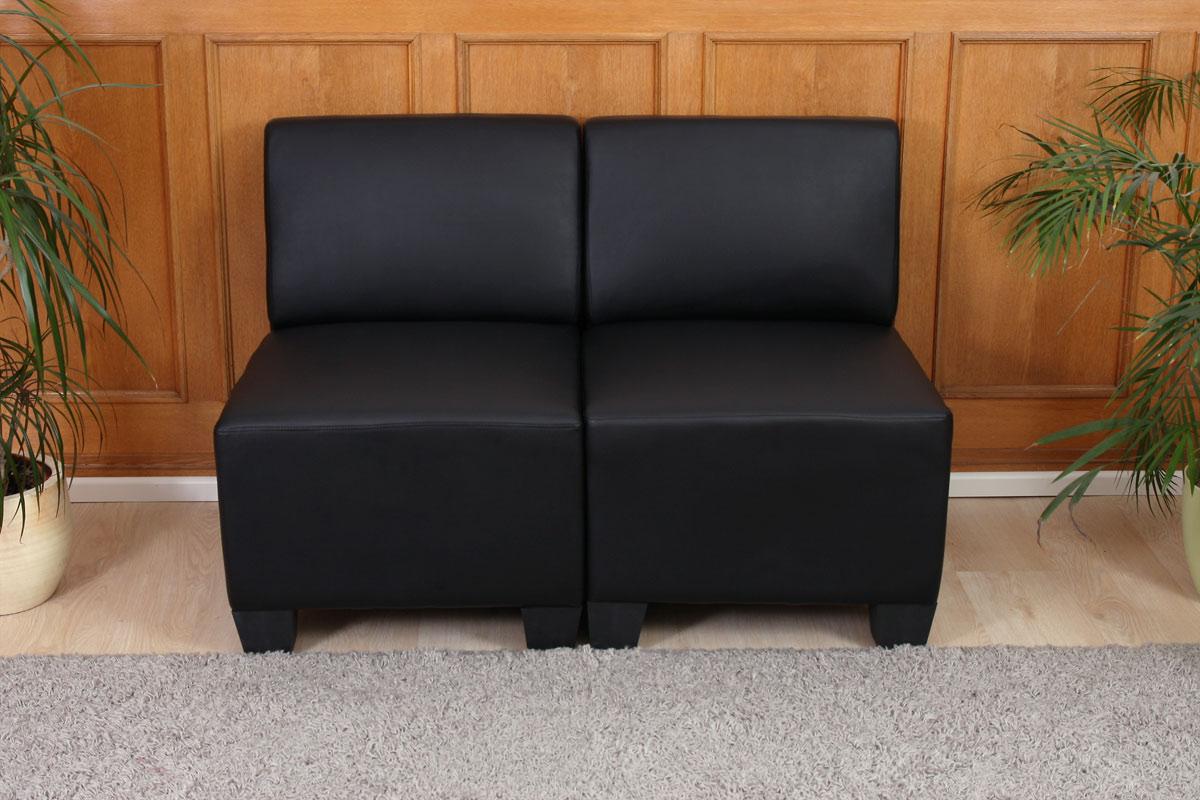 modular 2 sitzer sofa moncalieri kunstleder schwarz ohne armlehnen ebay. Black Bedroom Furniture Sets. Home Design Ideas