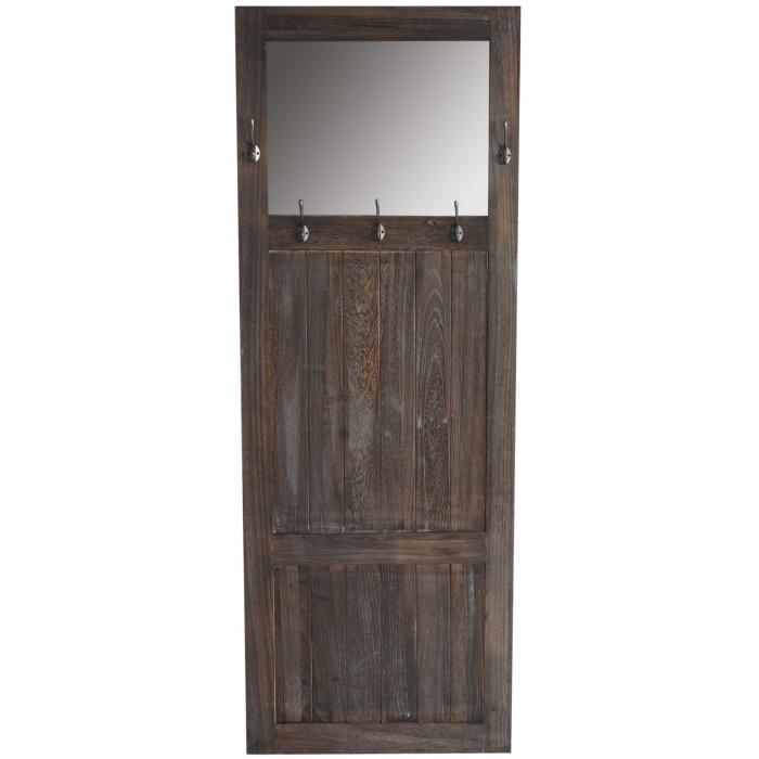 garderobe wandgarderobe mit spiegel wandhaken 180x65x7cm shabby look vintage braun. Black Bedroom Furniture Sets. Home Design Ideas