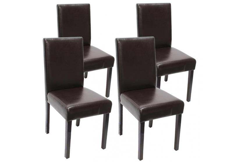 4x esszimmerstuhl littau stuhl lehnstuhl dunkle beine leder braun ebay. Black Bedroom Furniture Sets. Home Design Ideas