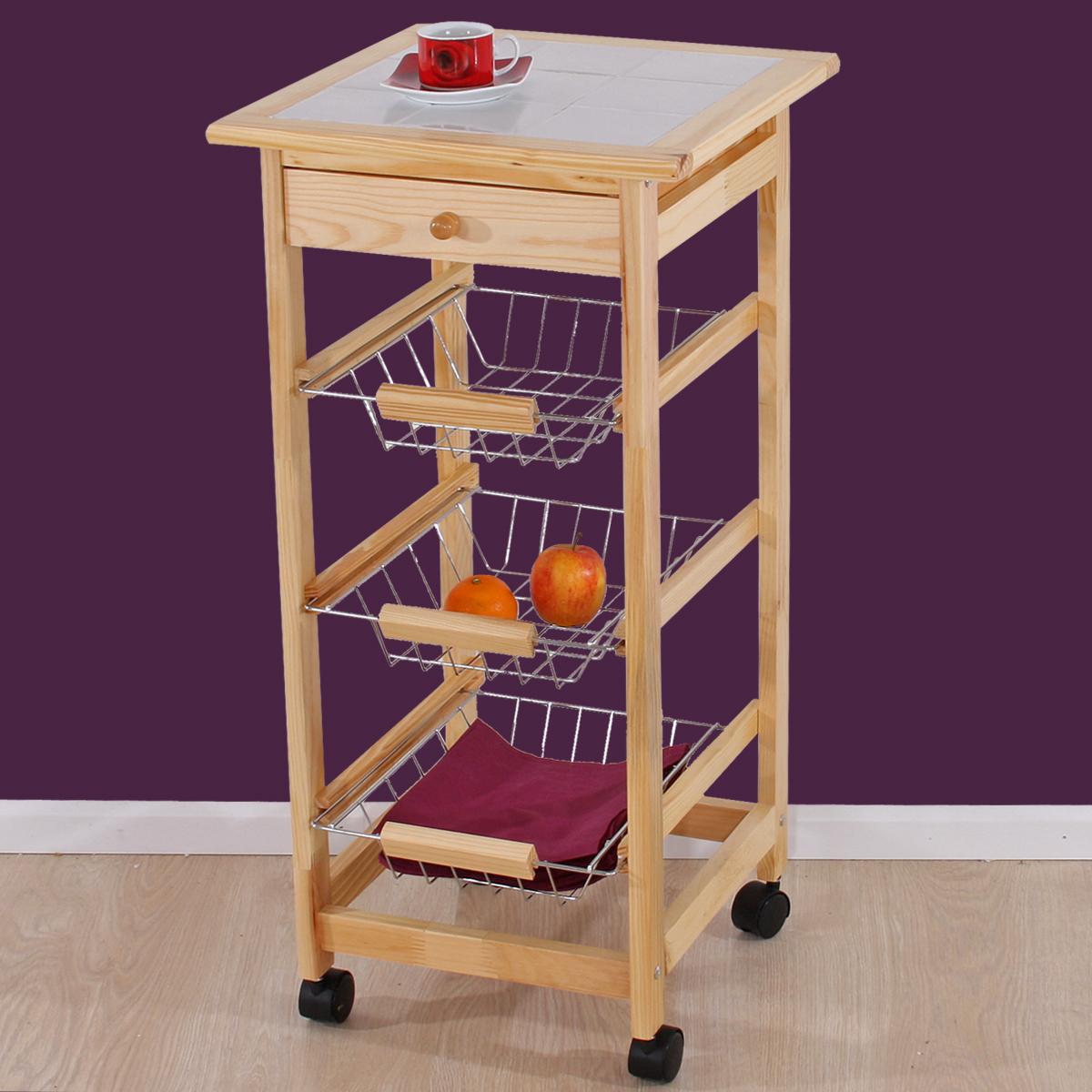 Carrello tavolino porta vivande 3 ceste con rotelle legno - Porta tv con rotelle ...