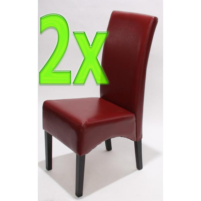 2x Esszimmerstuhl Küchenstuhl Stuhl Latina, LEDER ~ rot, dunkle Beine