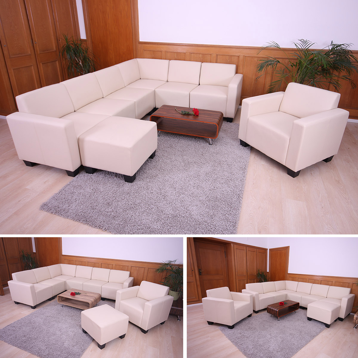 modular sofa system couch garnitur lyon 6 2 kunstleder creme. Black Bedroom Furniture Sets. Home Design Ideas