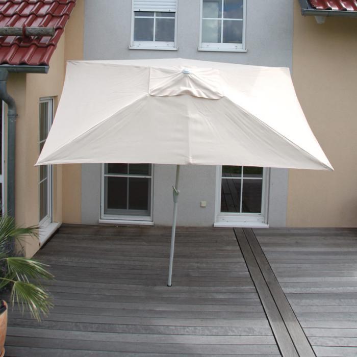 Sonnenschirm N23 Gartenschirm 2x3m Rechteckig Neigbar Polyesteralu 45kg Creme