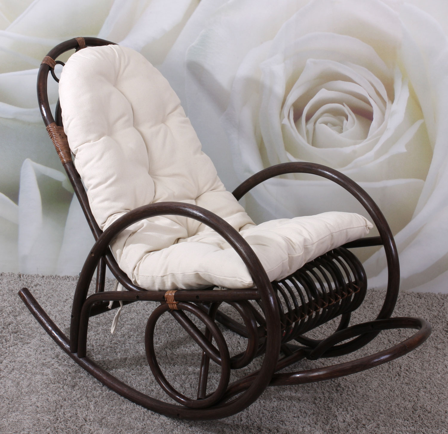 rocking chair fauteuil bascule derby bois marron avec coussin ebay. Black Bedroom Furniture Sets. Home Design Ideas