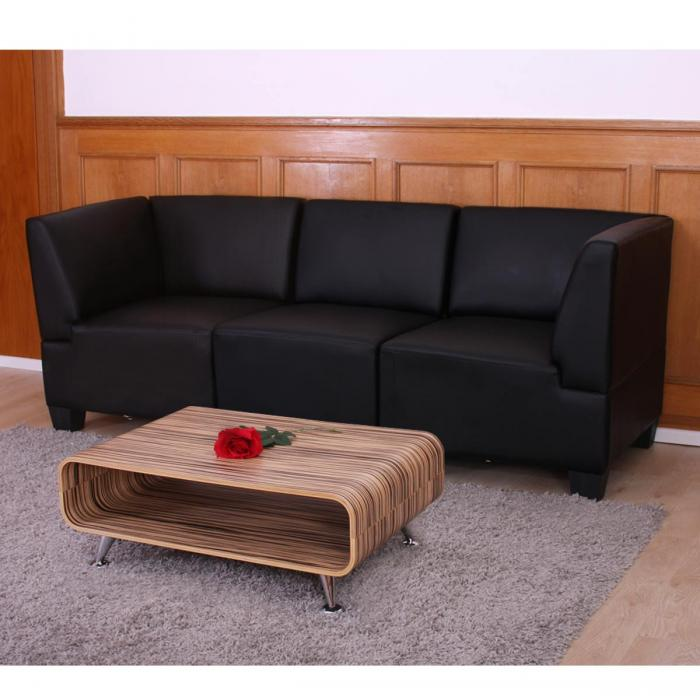 modular 3 sitzer sofa couch lyon kunstleder schwarz hohe armlehnen. Black Bedroom Furniture Sets. Home Design Ideas