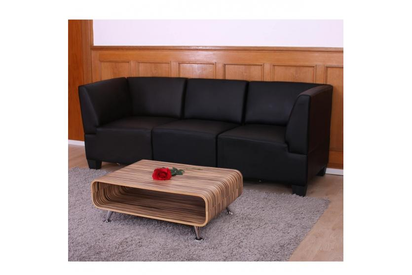 Modular 3 Sitzer Sofa Couch Lyon Kunstleder Schwarz Hohe Armlehnen