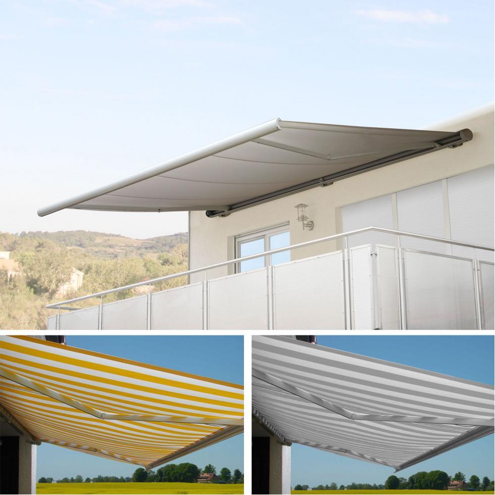4x3m Polyester Gelb//Weiß Elektrische Kassettenmarkise H122 Rahmen grau