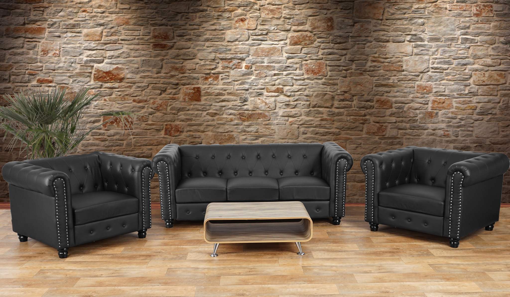 luxus 3 1 1 sofagarnitur couchgarnitur loungesofa chesterfield kunstleder runde f e schwarz. Black Bedroom Furniture Sets. Home Design Ideas