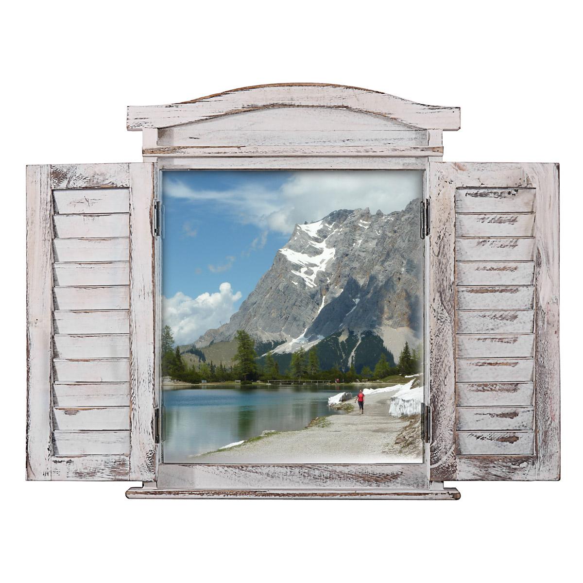 Wandspiegel Spiegelfenster mit Fensterläden 53x42x5cm ~ weiß shabby
