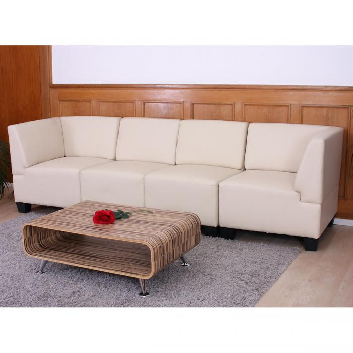 modular 4 sitzer sofa couch lyon kunstleder creme hohe armlehnen. Black Bedroom Furniture Sets. Home Design Ideas