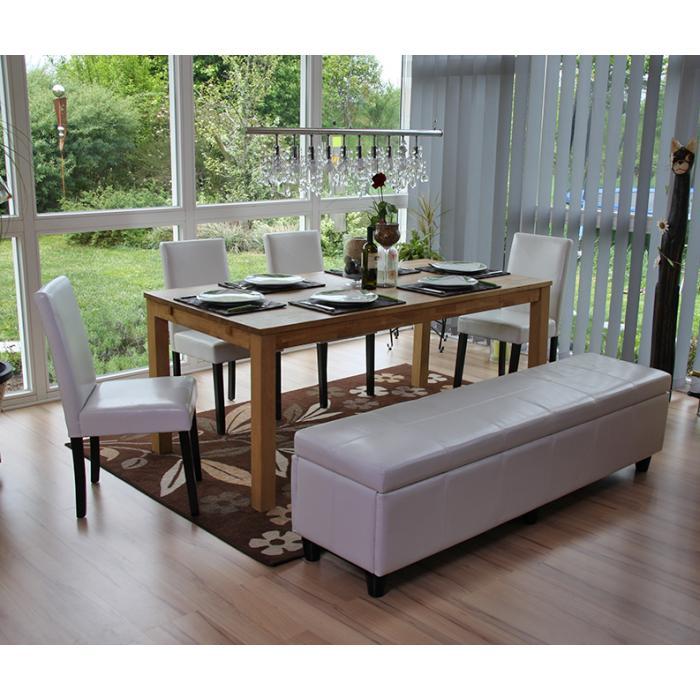 bank sitzbank mit aufbewahrung kriens xxl leder kunstleder 180x45x45cm wei. Black Bedroom Furniture Sets. Home Design Ideas