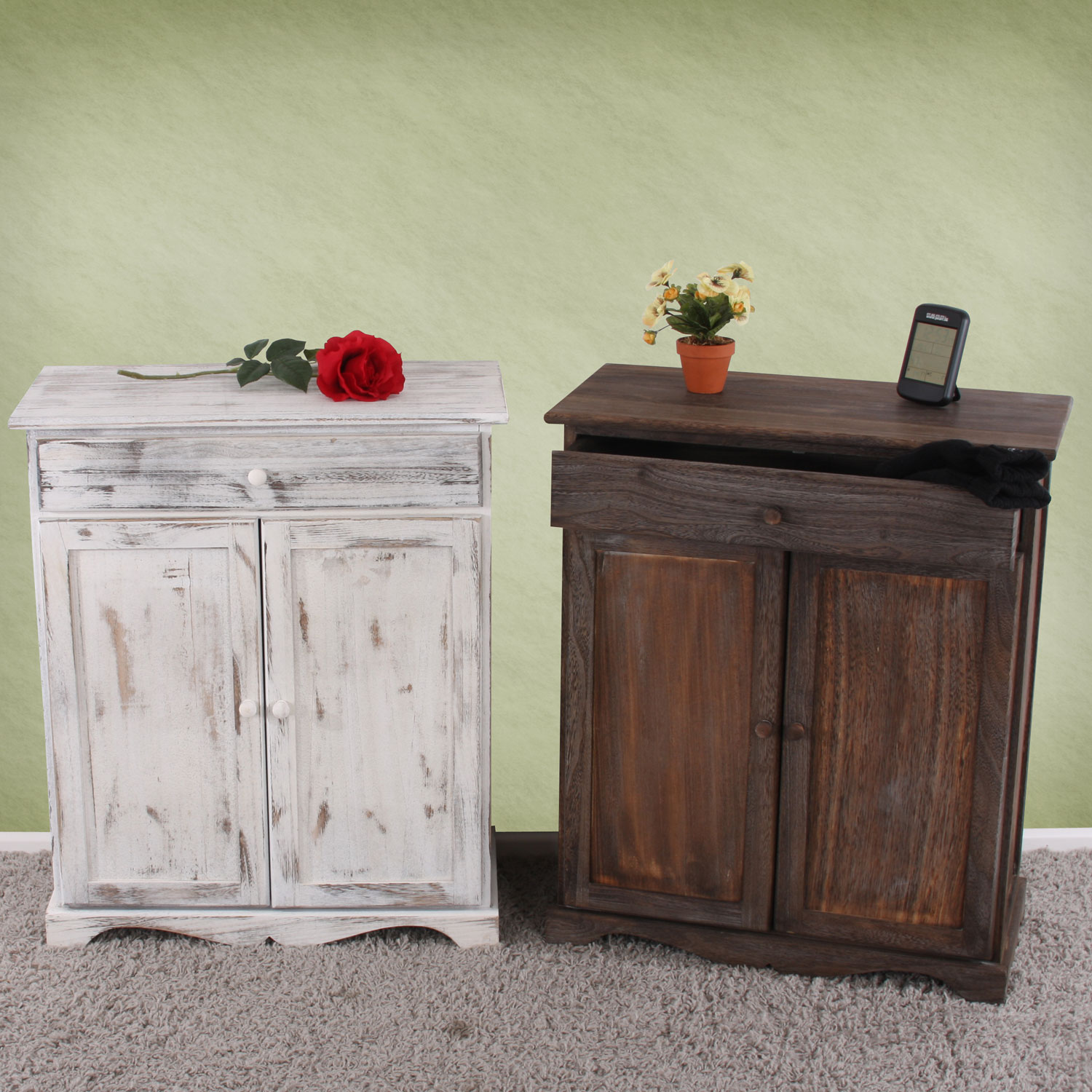 kommode schrank 78x66x33cm shabby look vintage wei. Black Bedroom Furniture Sets. Home Design Ideas