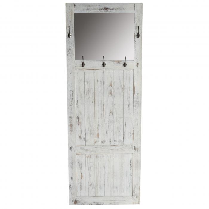 Garderobe Wandgarderobe mit Spiegel Wandhaken 180x65x7cm, Shabby-Look,  Vintage ~ weiß