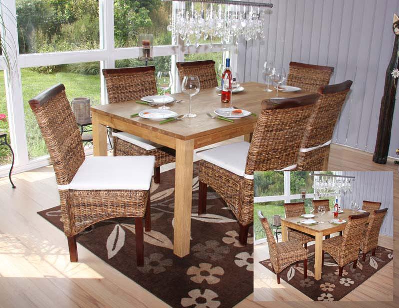 Mendler 6x Esszimmerstuhl Korbstuhl M45 Stuhl Bananengeflecht ~ Variantenangebot 12411+12411+12411