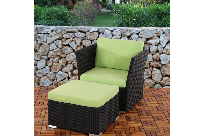 sessel mit ottomane sevilla poly rattan anthrazit mit kissen in hellgr n ebay. Black Bedroom Furniture Sets. Home Design Ideas
