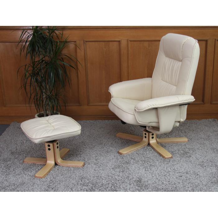 Relaxsessel Fernsehsessel Sessel Mit Hocker M56 Kunstleder Creme