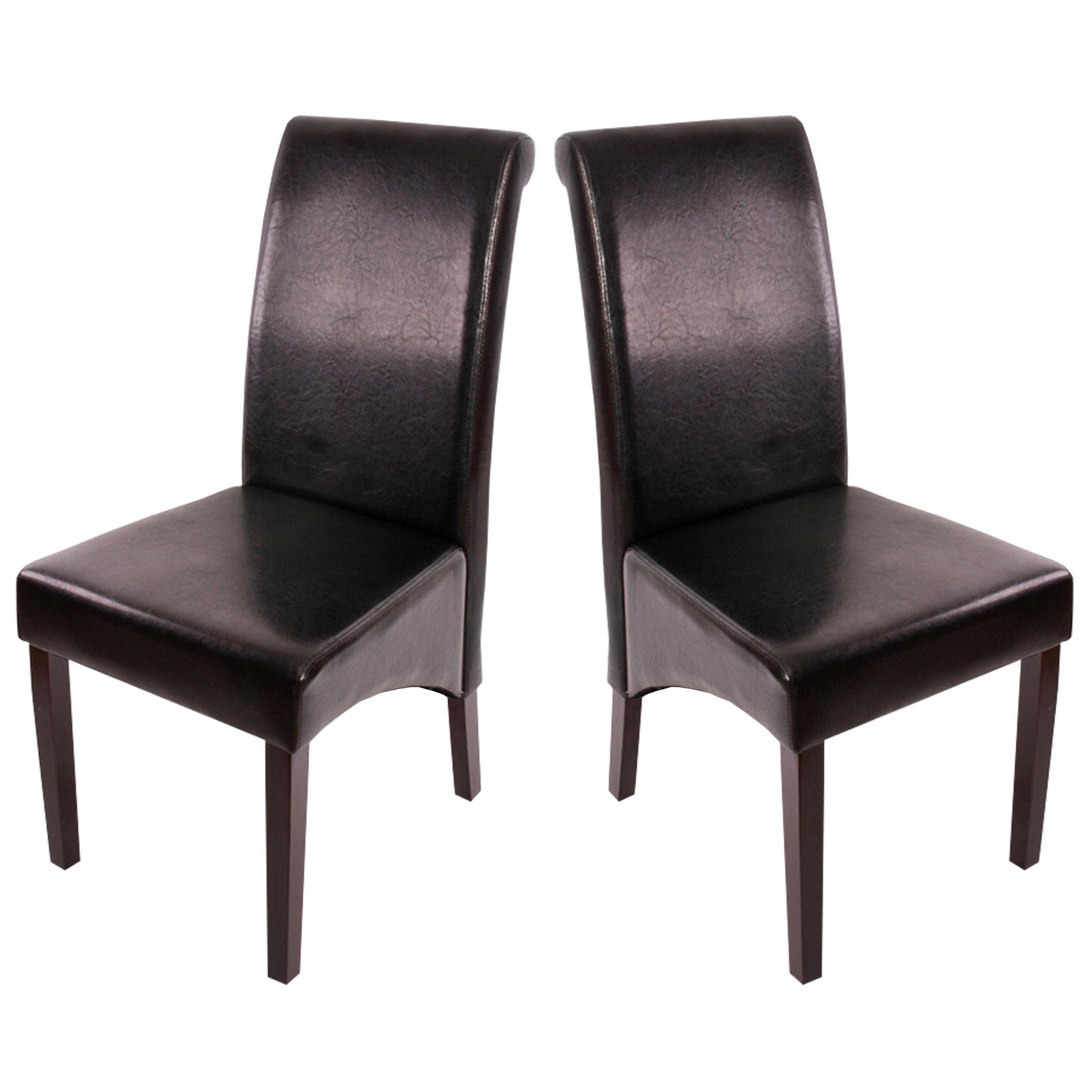 2x Barhocker Barstuhl Brescia schwarz Leder dunkle Beine