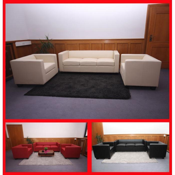 3 1 1 sofagarnitur couchgarnitur loungesofa lille kunstleder schwarz. Black Bedroom Furniture Sets. Home Design Ideas