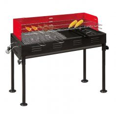 Barbecue- Holzkohlegrill, 2 Grillroste, 1 Grillpfanne, 70x31x92 cm