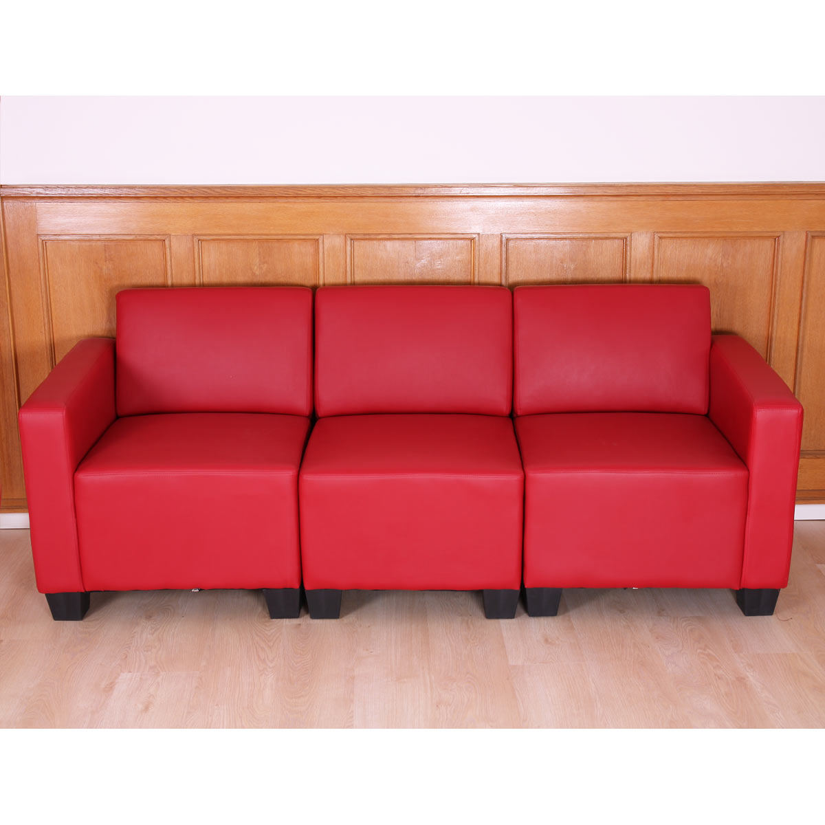 modular 3 sitzer sofa couch lyon kunstleder schwarz creme rot ebay. Black Bedroom Furniture Sets. Home Design Ideas