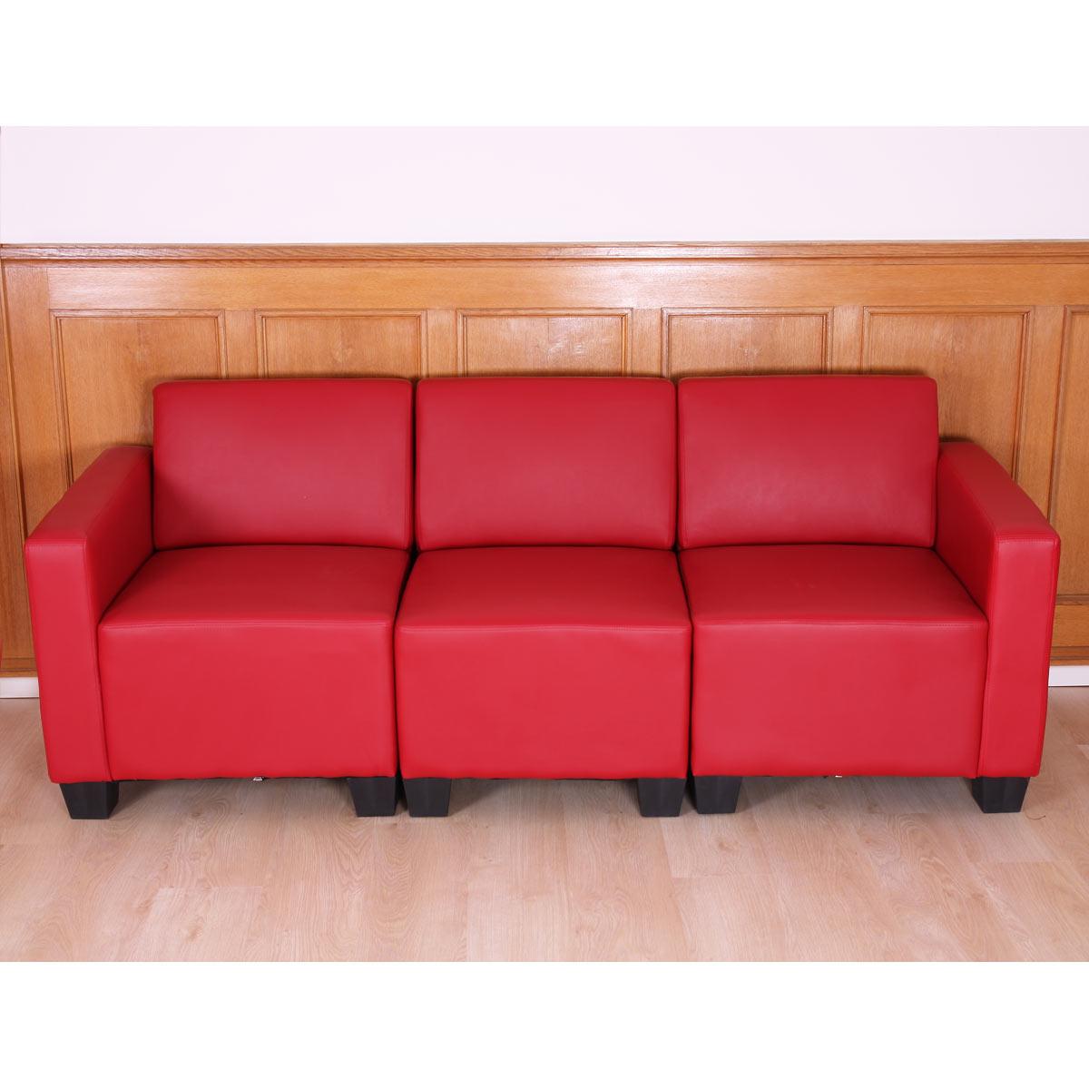 Modular 3 Sitzer Sofa Couch Lyon Kunstleder Schwarz Creme Rot Ebay