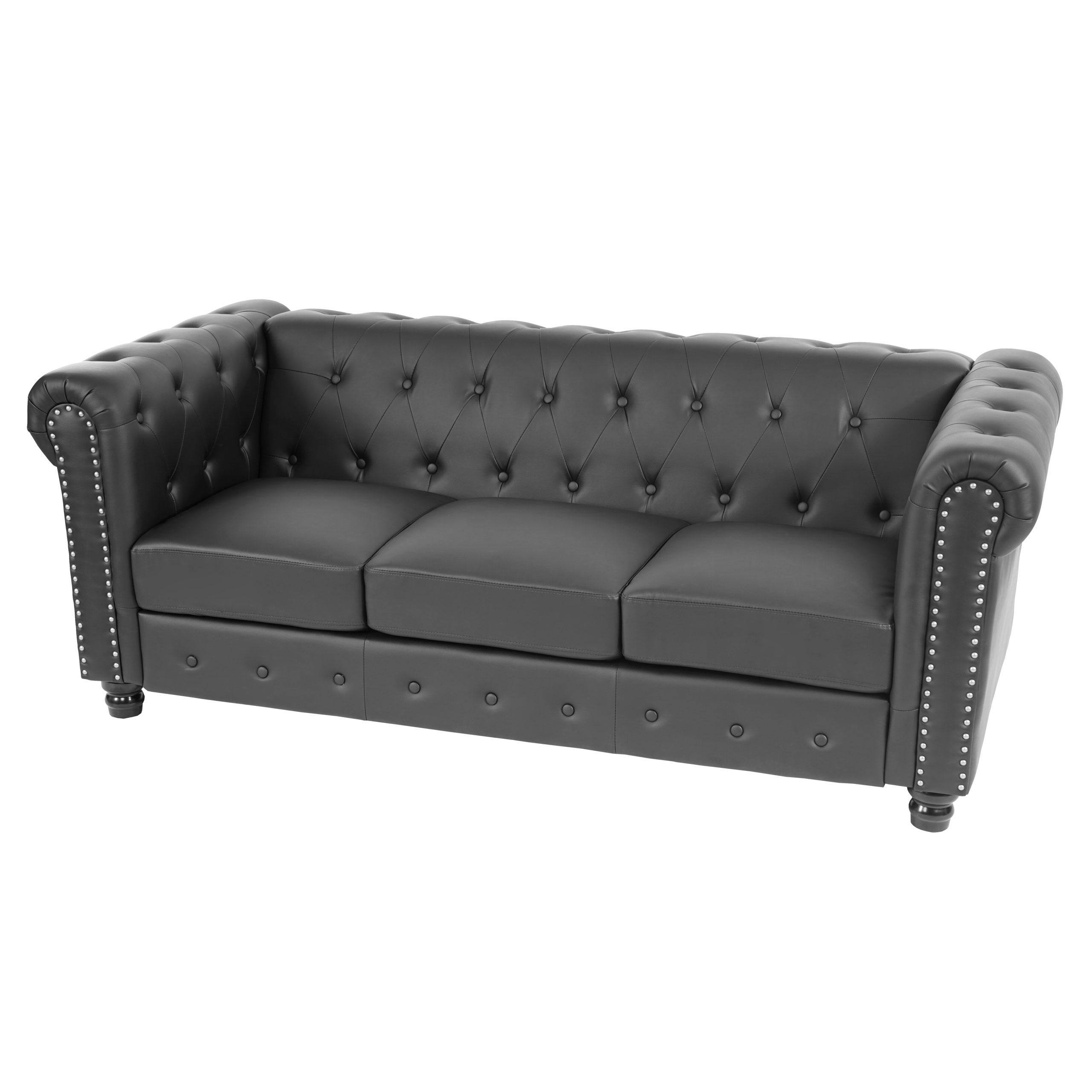 Luxus 3er Sofa Loungesofa Couch Chesterfield Kunstleder Runde F E Schwarz