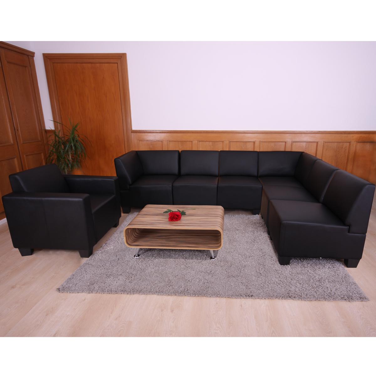 modular sofa system couch garnitur lyon 6 1 kunstleder schwarz. Black Bedroom Furniture Sets. Home Design Ideas