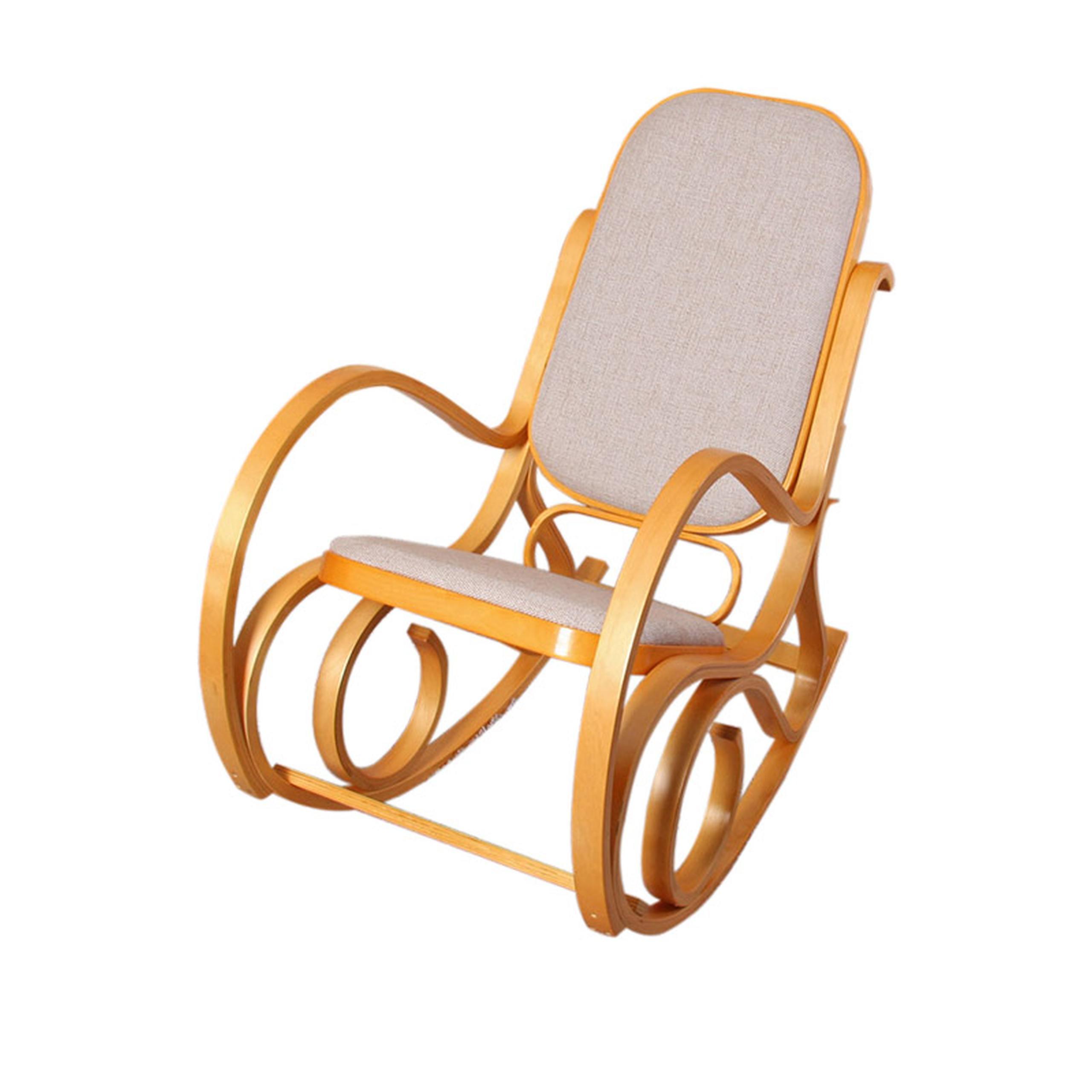 schaukelstuhl schwingsessel m41 aus holz eiche stoff beige. Black Bedroom Furniture Sets. Home Design Ideas