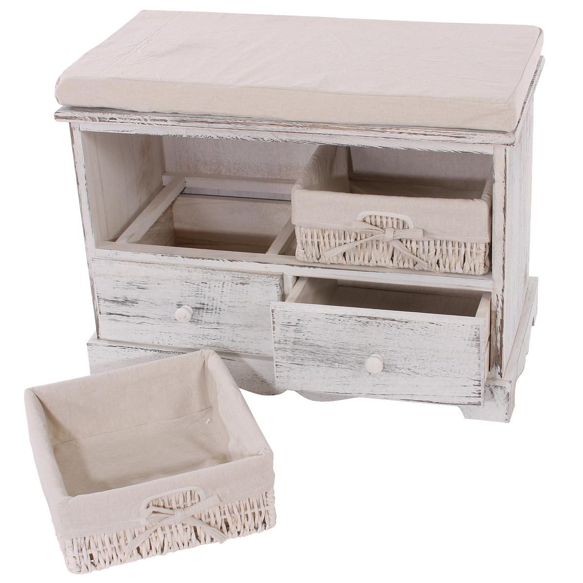 Garderobe mit sitzbank kommode mit 2 k rben 42x62x33cm for Sitzbank garderobe holz