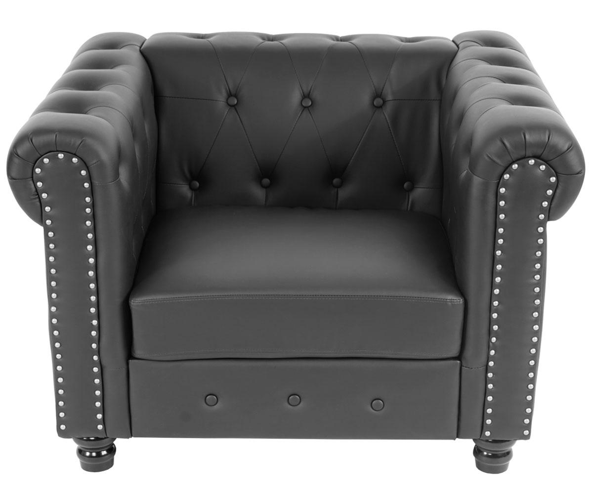 luxus sessel loungesessel relaxsessel chesterfield kunstleder runde f e schwarz. Black Bedroom Furniture Sets. Home Design Ideas