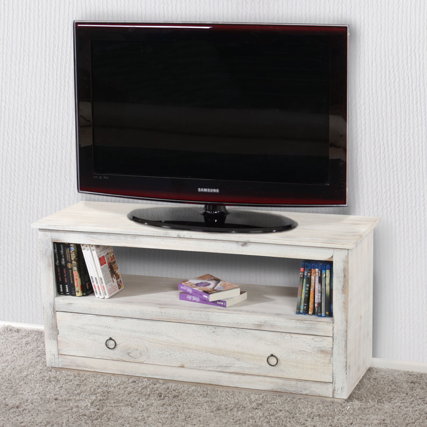 tv rack fernsehtisch lowboard tv regal shabby look vintage wei. Black Bedroom Furniture Sets. Home Design Ideas